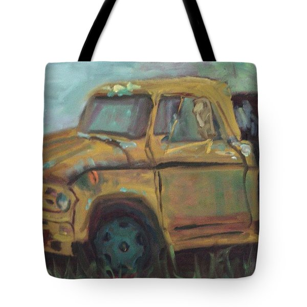 Tote Bag featuring the painting Dump Truck by Carol Berning