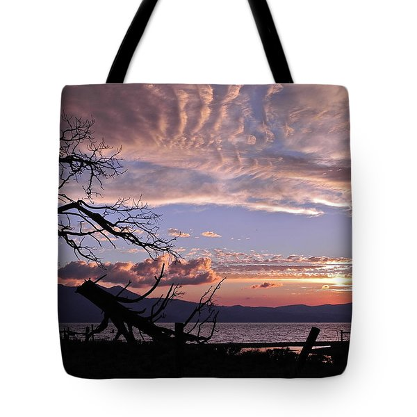 Tote Bag featuring the photograph Dusk Over Lake Tahoe by Kirsten Giving