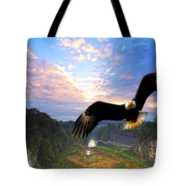 Tote Bag featuring the photograph Eagle At Paint Creek Dam by Randall Branham