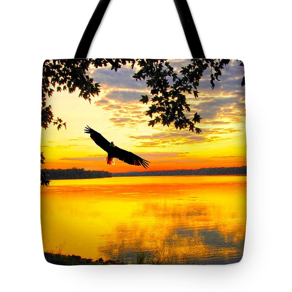 Tote Bag featuring the photograph Eagle At Sunset by Randall Branham