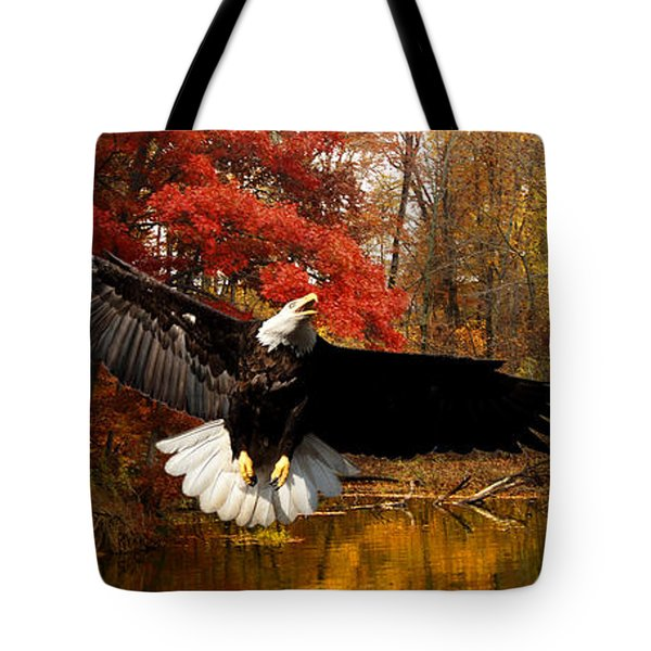 Tote Bag featuring the photograph Eagle In Autumn Splendor by Randall Branham