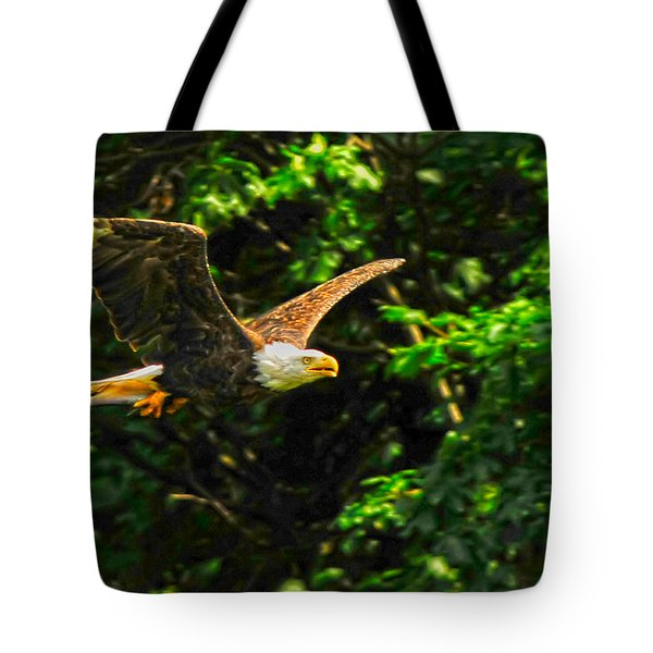 Tote Bag featuring the photograph Eagle Taking Lunch To Her Babies by Randall Branham