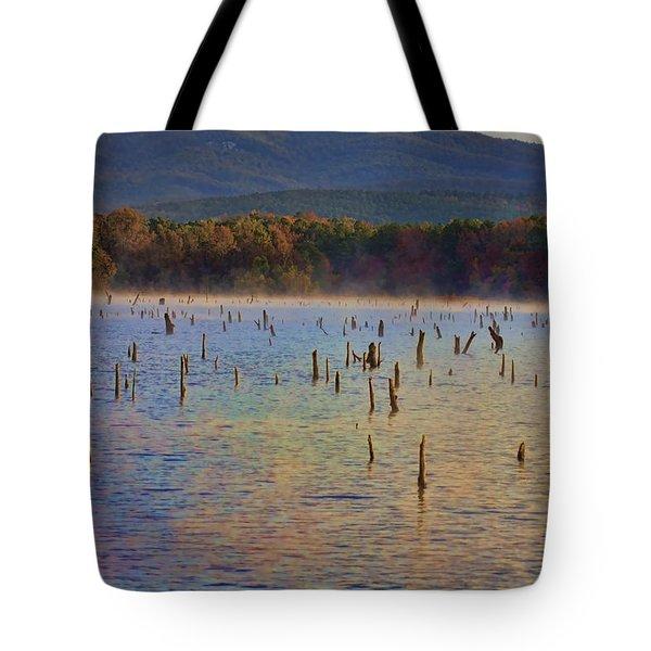 Early Morning Color Of Lake Wilhelmina-arkansas Tote Bag by Douglas Barnard