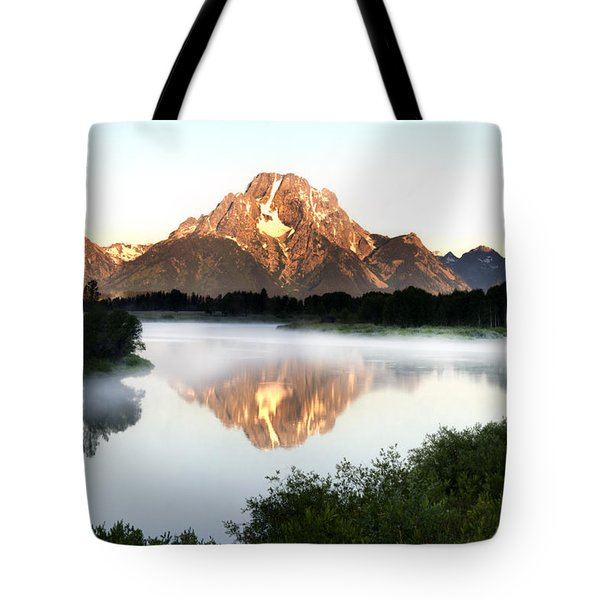 Early Morning Fog Oxbow Bend Tote Bag by Paul Cannon