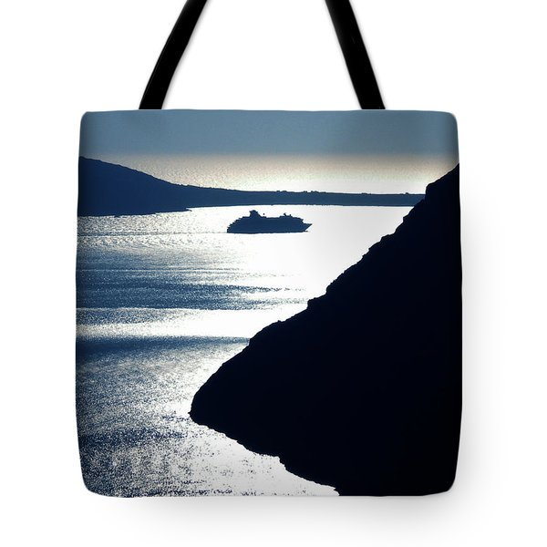 Tote Bag featuring the photograph Early Night Santorini Island Greece by Colette V Hera  Guggenheim