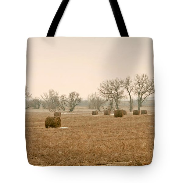 Earlying Morning Hay Bails Tote Bag by James Steele