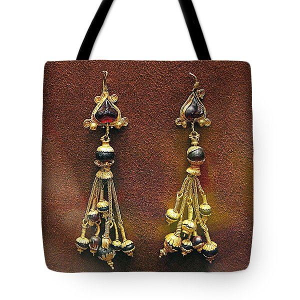 Earrings With Garnets Tote Bag by Andonis Katanos