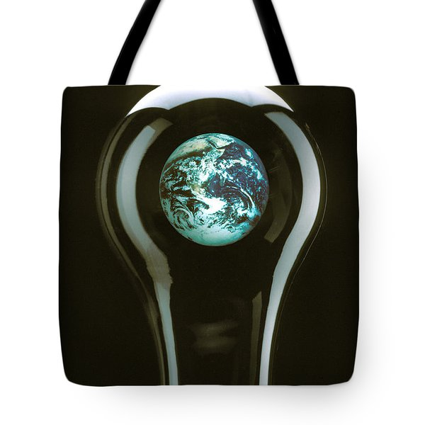 Earth In Light Bulb  Tote Bag by Garry Gay
