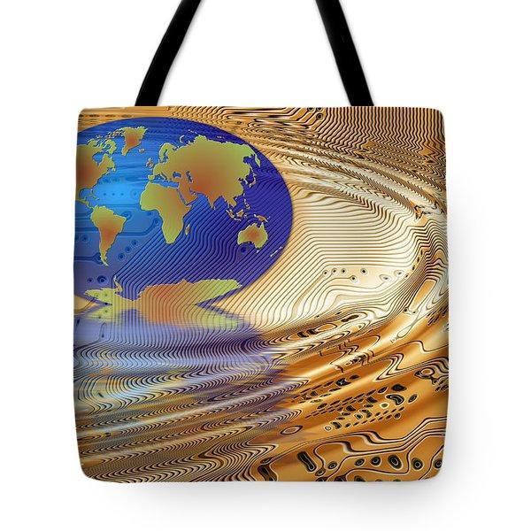 Earth In The Printed Circuit Tote Bag by Michal Boubin