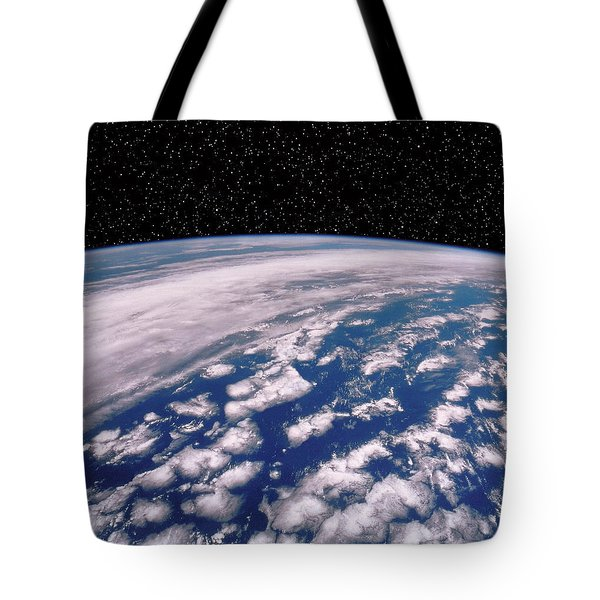 Earth With Starfield Tote Bag by NASA / Science Source