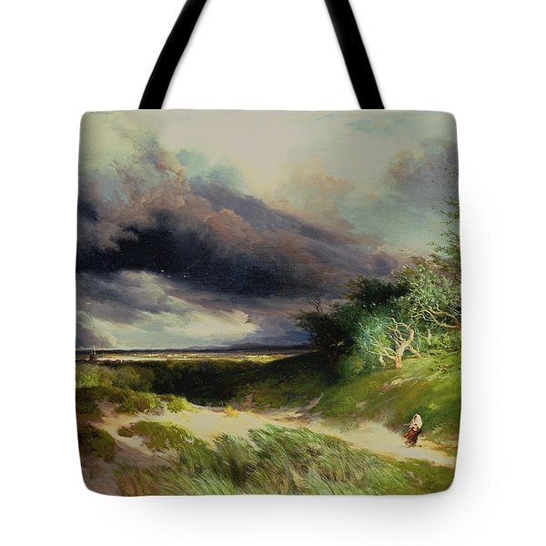 East Hamptonlong Island Sand Dunes Tote Bag by Thomas Moran