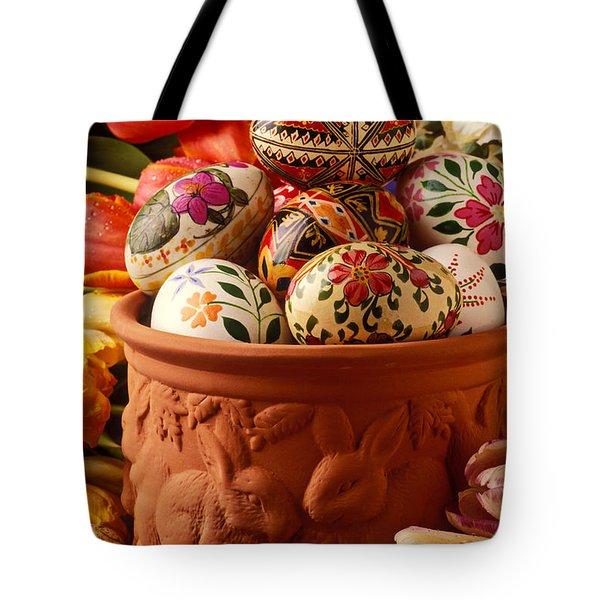Easter Eggs In Flower Pot Tote Bag by Garry Gay