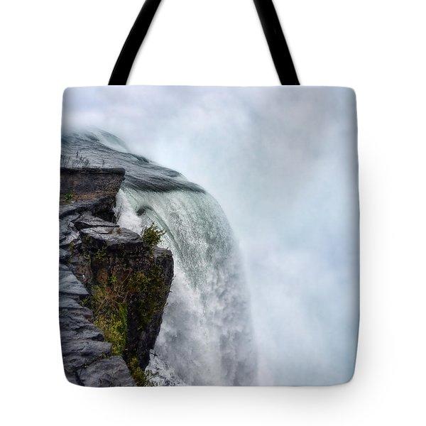 Edge Of Niagara Falls Tote Bag by Jill Battaglia