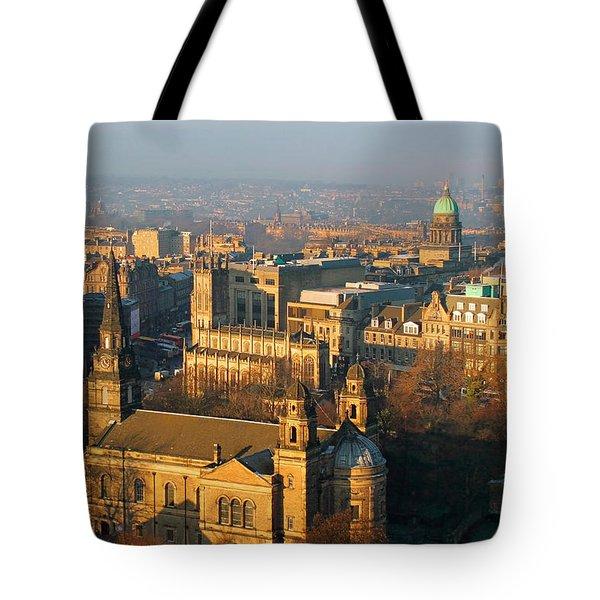 Edinburgh On A Winter's Day Tote Bag by Christine Till