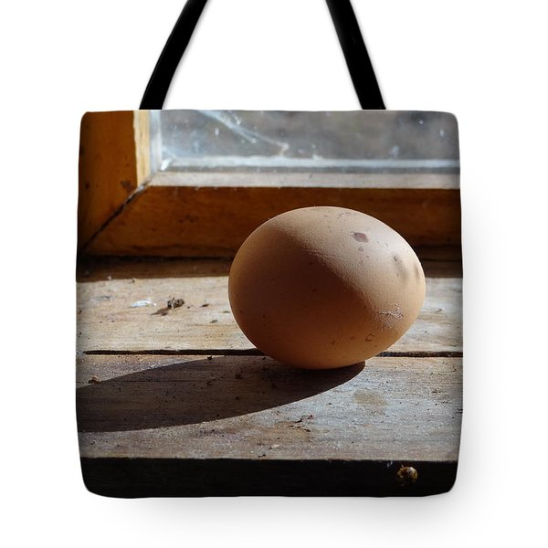 Tote Bag featuring the painting Egg On A Window Ledge by Carol Berning