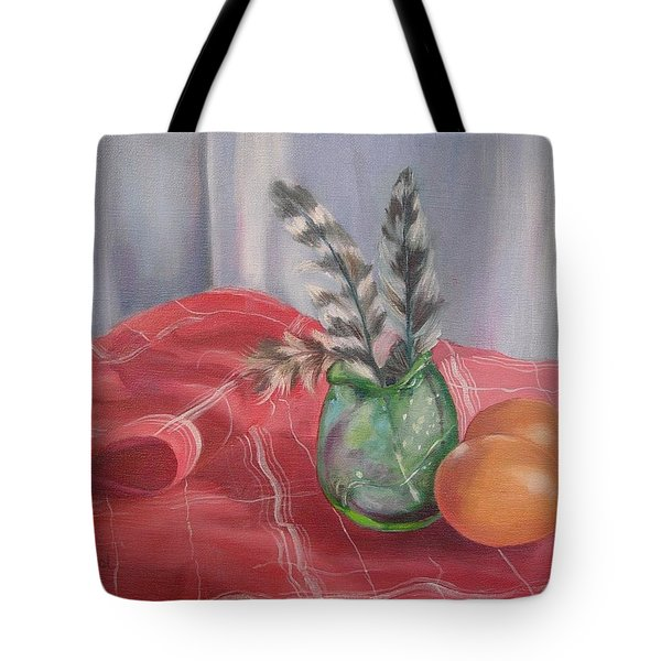 Tote Bag featuring the painting Eggs Feathers And Glass by Carol Berning