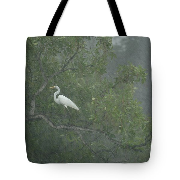 Egret In The Monsoons Tote Bag by Bob Christopher