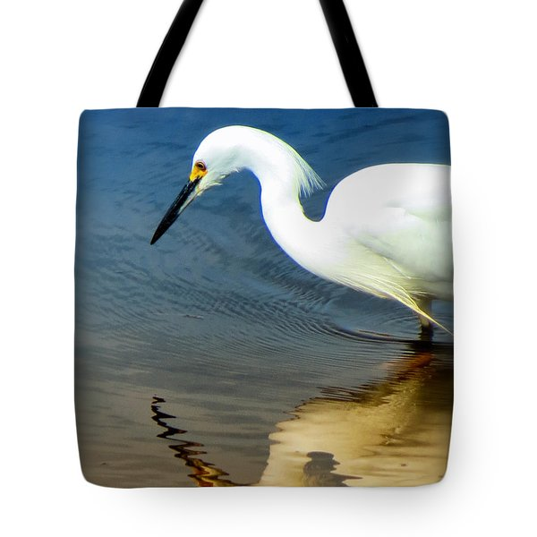 Egret Reflected Tote Bag by Diane Wood