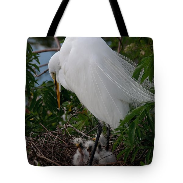 Egret With Chicks Tote Bag