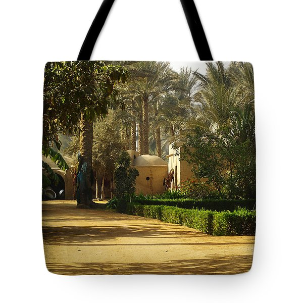 Egyptian Courtyard In The Late Afternoon Tote Bag by Mary Machare