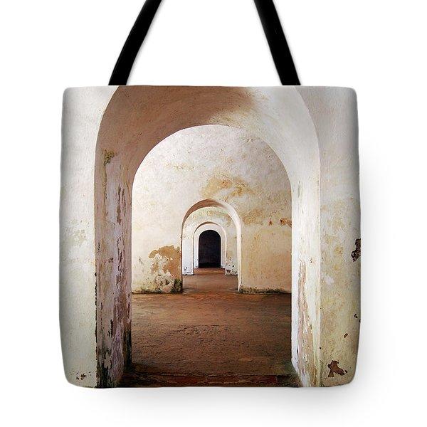 El Morro Fort Barracks Arched Doorways Vertical San Juan Puerto Rico Prints Tote Bag by Shawn O'Brien