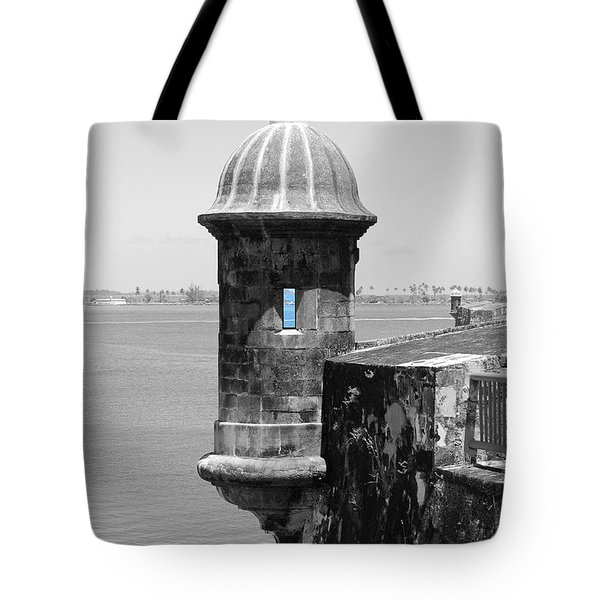 El Morro Sentry Tower Color Splash Black And White San Juan Puerto Rico Tote Bag