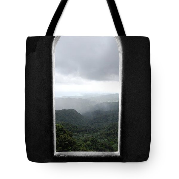 Tote Bag featuring the photograph El Yunque Cloudburst Color Splash Black And White by Shawn O'Brien