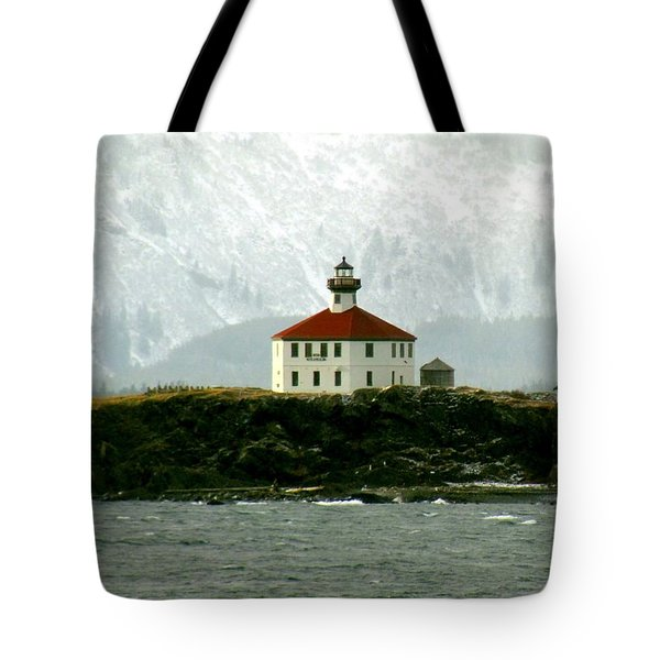 Tote Bag featuring the photograph Eldred Rock Lighthouse by Myrna Bradshaw