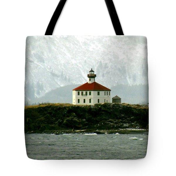 Eldred Rock Lighthouse Tote Bag by Myrna Bradshaw