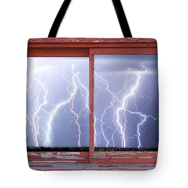Electric Skies Red Barn Picture Window Frame Photo Art  Tote Bag by James BO  Insogna