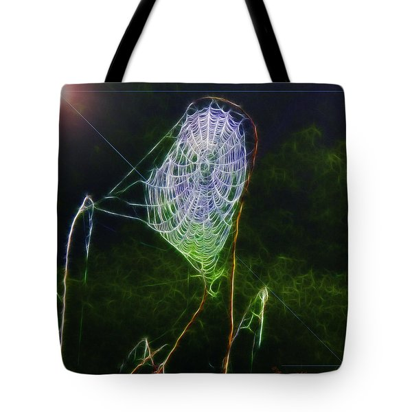 Tote Bag featuring the photograph Electric Web In The Fog by EricaMaxine  Price