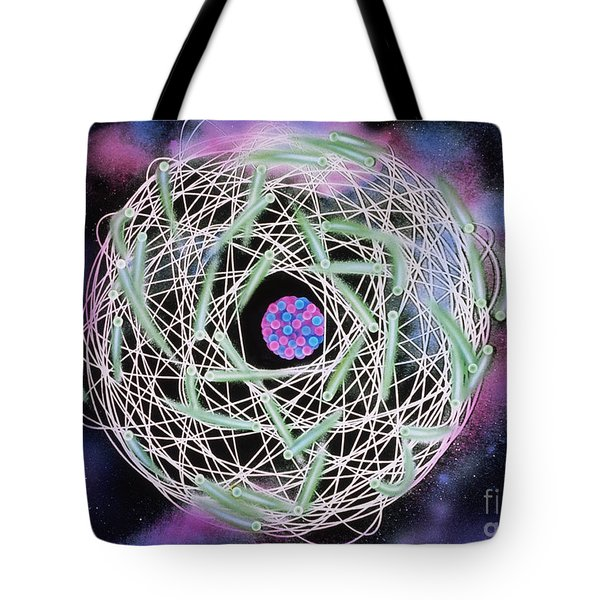 Electrons Orbiting Atom Tote Bag by Omikron