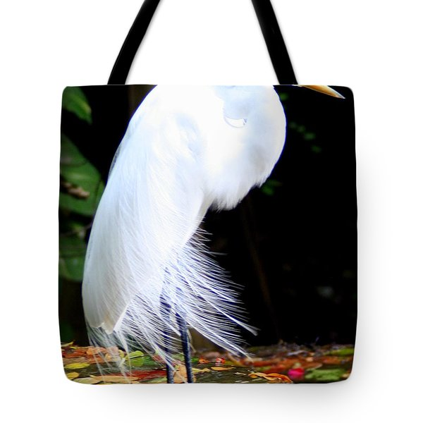 Elegant Egret At Water's Edge Tote Bag