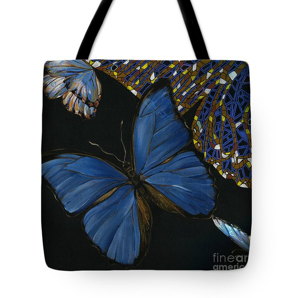 Tote Bag featuring the painting Elena Yakubovich - Butterfly 2x2 Lower Left Corner by Elena Yakubovich