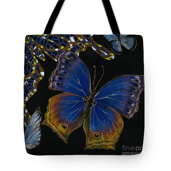 Elena Yakubovich - Butterfly 2x2 Lower Right Corner Tote Bag by Elena Yakubovich