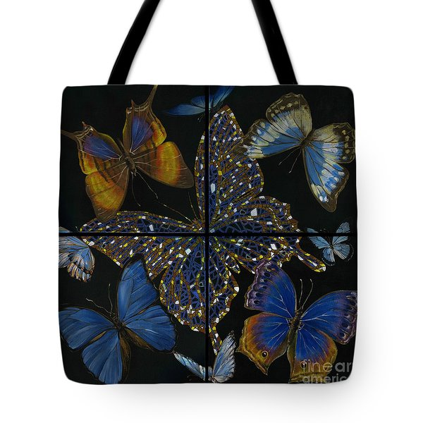 Tote Bag featuring the painting Elena Yakubovich Butterfly 2x2 by Elena Yakubovich