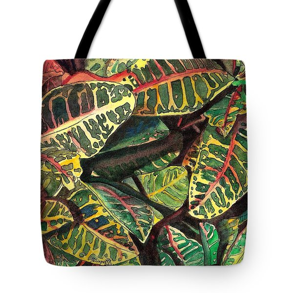 Elena's Crotons Tote Bag by Marionette Taboniar