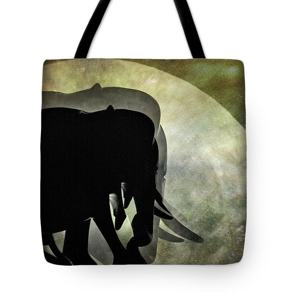 Elephants On Moonlight Walk 2 Tote Bag by Kaye Menner