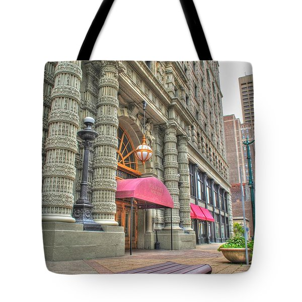 Tote Bag featuring the photograph Ellicott Square Building And Hsbc by Michael Frank Jr