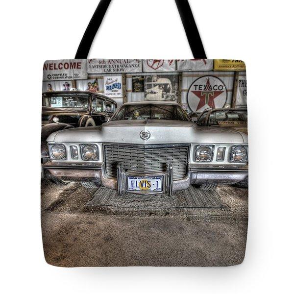 Elvis' Cadillac Tote Bag by Nicholas  Grunas