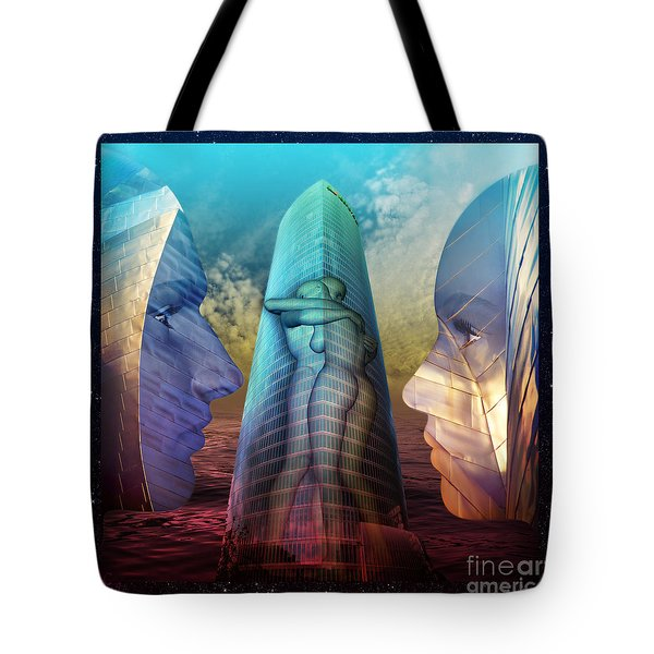 Tote Bag featuring the digital art Embrace Tower by Rosa Cobos