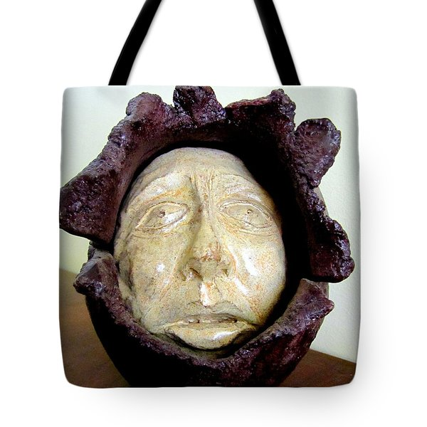 Emerging White Pale Face Born Out Of A Brown Purple Thing Eyes Nose Mouth Tote Bag by Rachel Hershkovitz