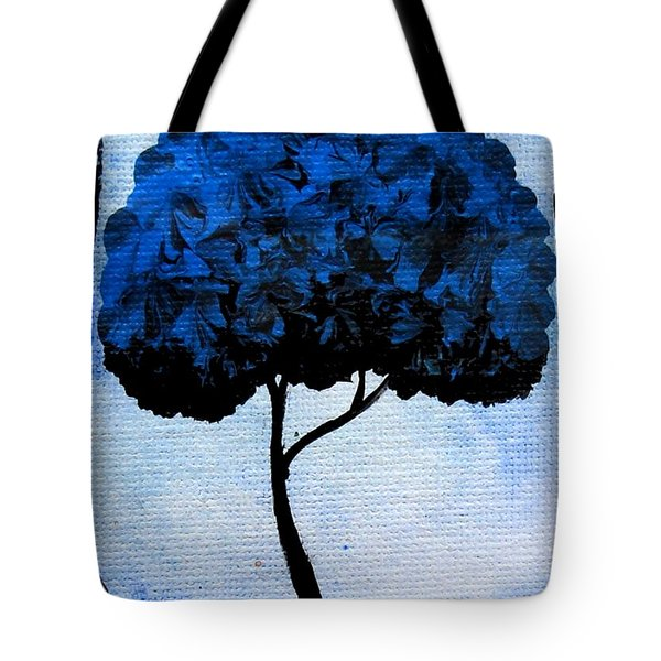Emily's Trees Blue Tote Bag by Oddball Art Co by Lizzy Love