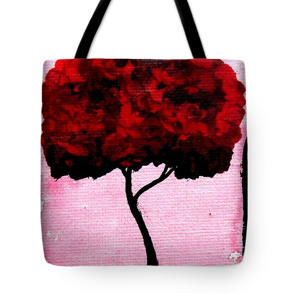 Emily's Trees Red Tote Bag by Lizzy Love of Oddball Art Co