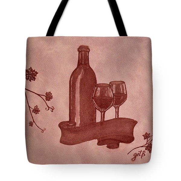 Enjoying Red Wine  Painting With Red Wine Tote Bag by Georgeta  Blanaru