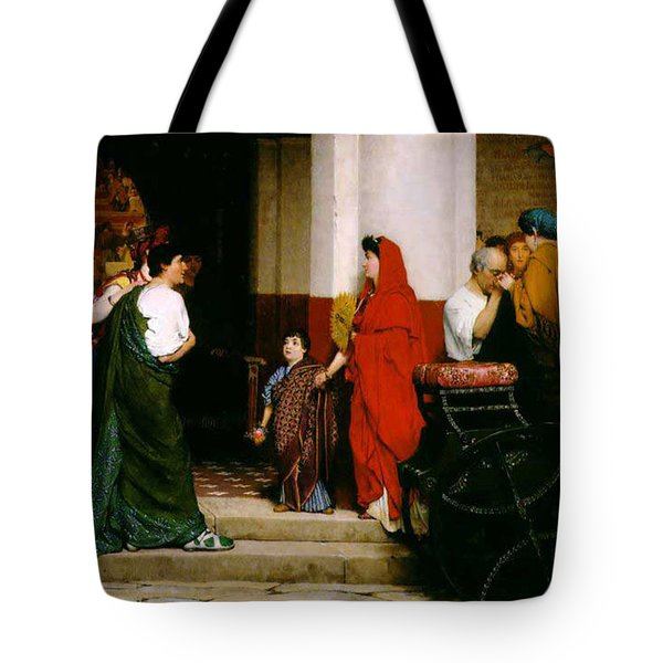 Entrance To A Roman Theatre Tote Bag by Sir Lawrence Alma-Tadema