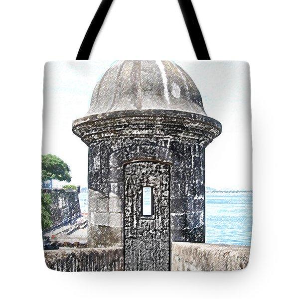 Entrance To Sentry Tower Castillo San Felipe Del Morro Fortress San Juan Puerto Rico Colored Pencil Tote Bag by Shawn O'Brien
