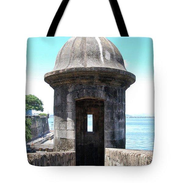 Entrance To Sentry Tower Castillo San Felipe Del Morro Fortress San Juan Puerto Rico Tote Bag by Shawn O'Brien