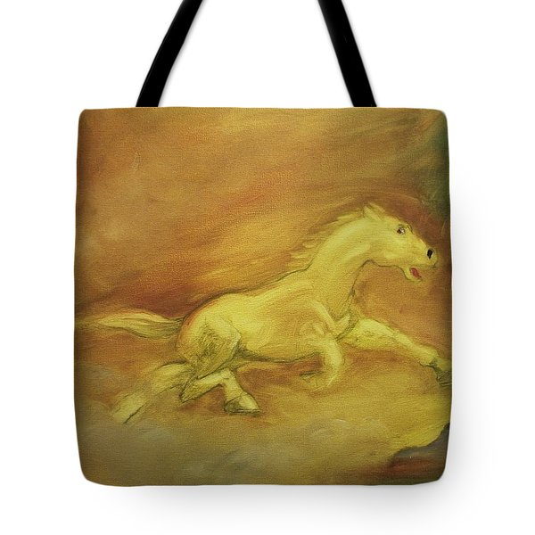 Tote Bag featuring the painting Escaping The Flames by George Pedro