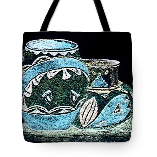 Tote Bag featuring the painting Etched Pottery by Paula Ayers